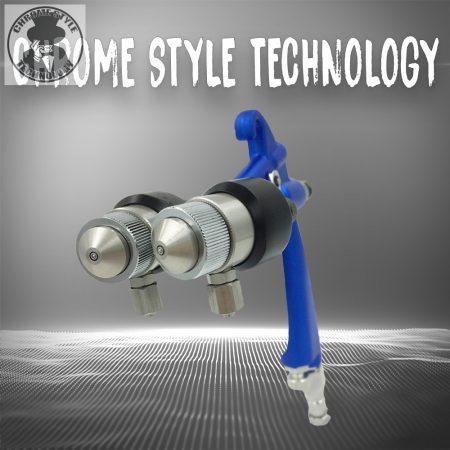 Profi dupla fúvókás minőségi vegyszerszóró pisztoly. HVLP. Speciálisan erre a célra kialakított dual Chrome pisztoly