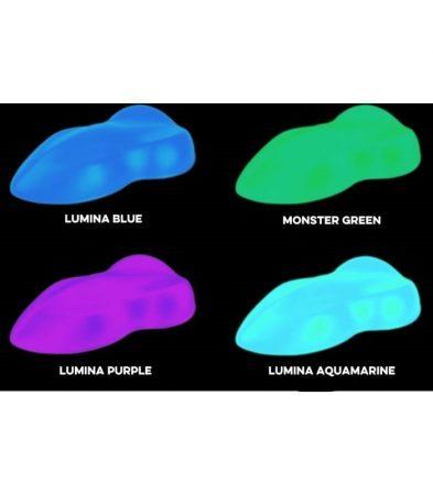 Foszforeszkáló festékek festékszóró pisztolyhoz vagy airbrush-hoz. Vizes bázisú. Választható színben és kiszerelésben