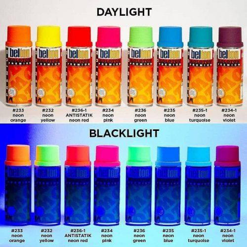 UV fény hatására világító Neon színű festék, 400 ml